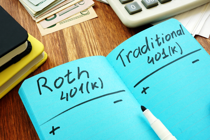 Notebook with Roth and Traditional 401(k)
