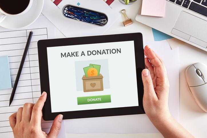 Make a Donation text on iPad